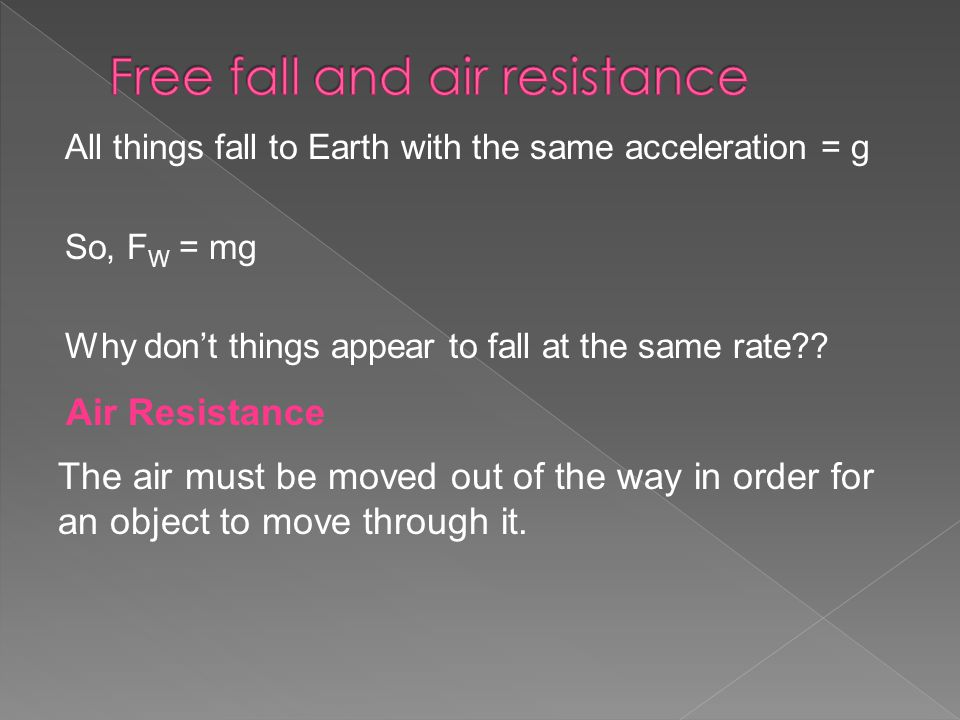 All things fall to Earth with the same acceleration = g So, F W = mg Why don't things appear to fall at the same rate .