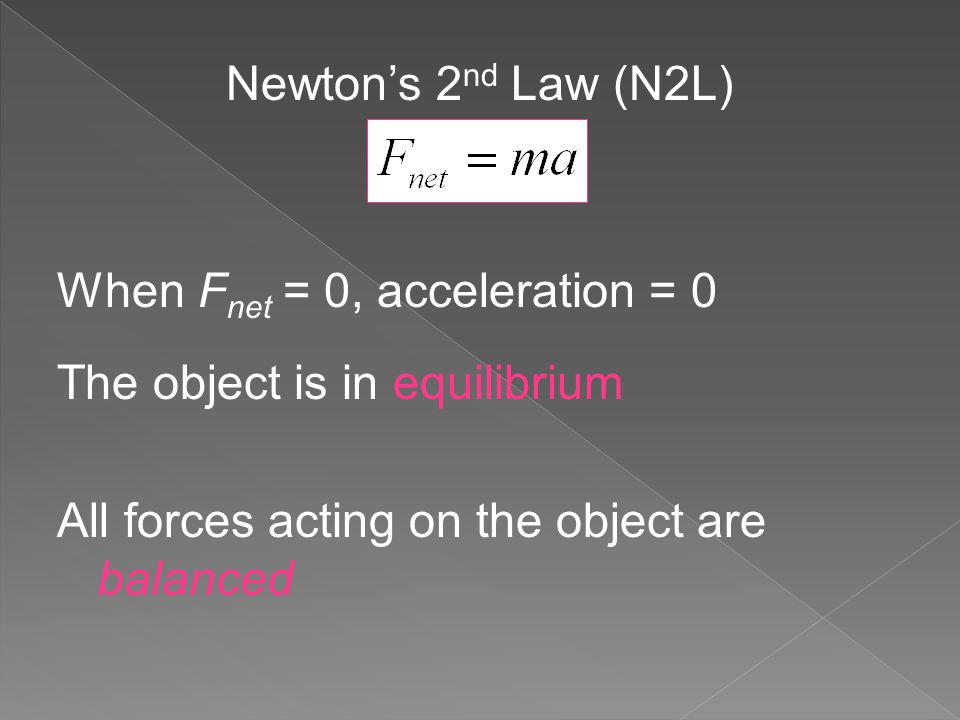 Newton's 2 nd Law (N2L) When F net = 0, acceleration = 0 The object is in equilibrium All forces acting on the object are balanced