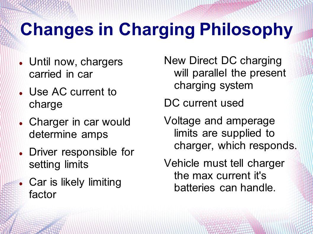 Changes in Charging Philosophy Until now, chargers carried in car Use AC current to charge Charger in car would determine amps Driver responsible for setting limits Car is likely limiting factor New Direct DC charging will parallel the present charging system DC current used Voltage and amperage limits are supplied to charger, which responds.