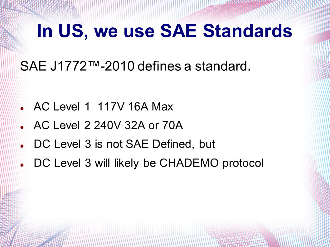 In US, we use SAE Standards SAE J1772™-2010 defines a standard.