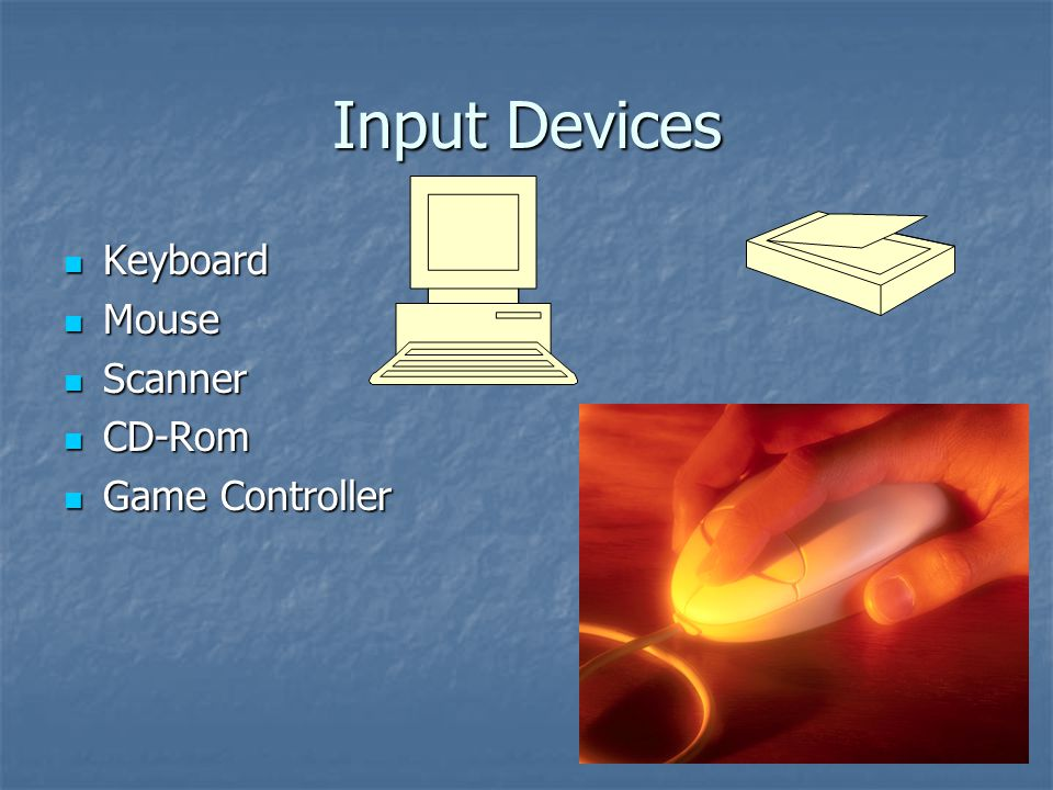 Input Devices Keyboard Keyboard Mouse Mouse Scanner Scanner CD-Rom CD-Rom Game Controller Game Controller