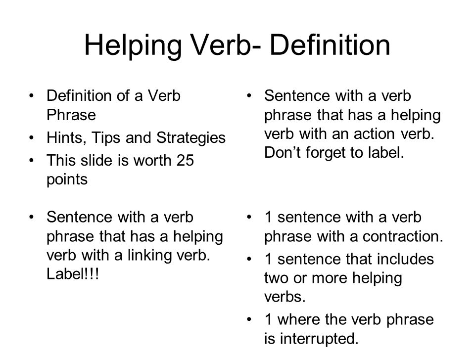 Helping Verb- Definition Definition of a Verb Phrase Hints, Tips and Strategies This slide is worth 25 points Sentence with a verb phrase that has a helping verb with an action verb.