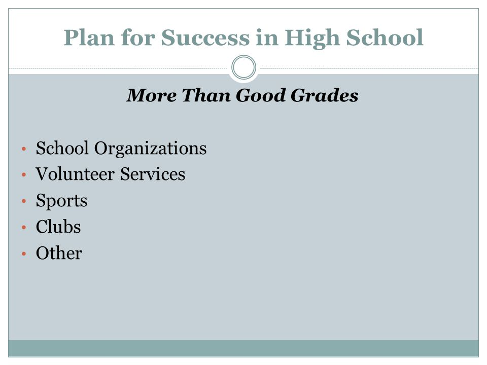 Plan for Success in High School More Than Good Grades School Organizations Volunteer Services Sports Clubs Other