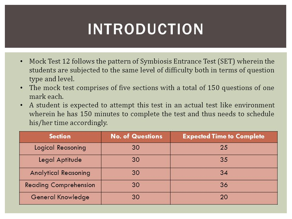 DETAILED ANALYSIS MOCK TEST 12 ( )  INTRODUCTION Mock Test 12