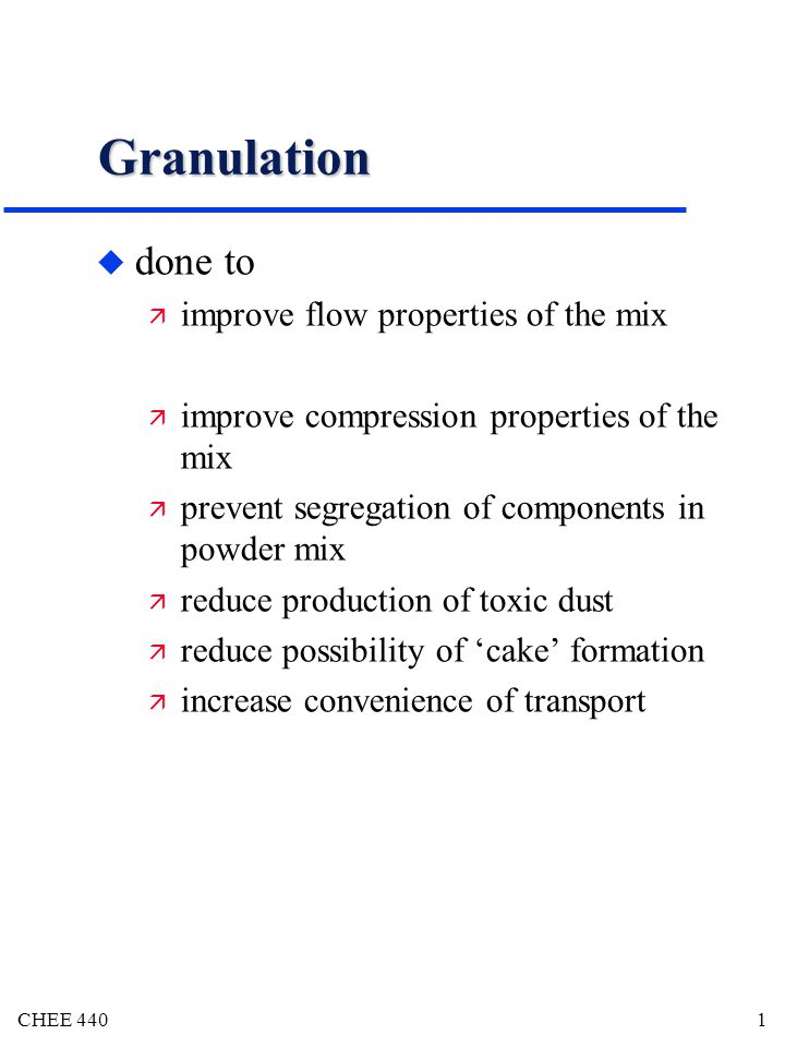 The Toxic Mix Of Segregation And >> Chee Granulation U Done To Improve Flow Properties Of The Mix