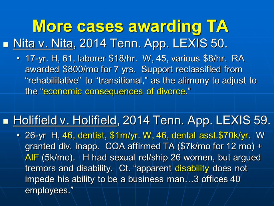 ALIMONY IN TENNESSEE & SOME TRENDS ACROSS THE COUNTRY Hon