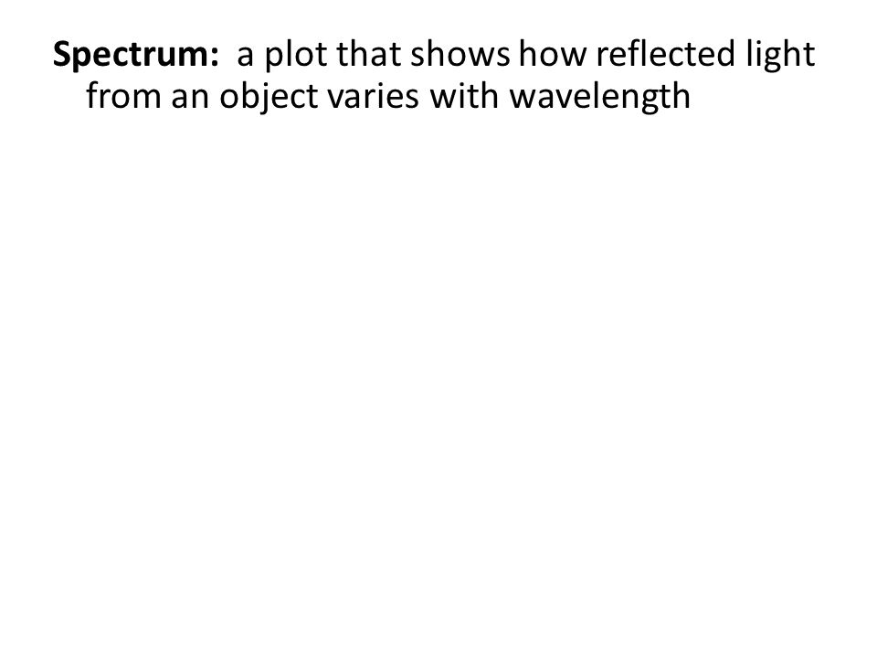 Spectrum: a plot that shows how reflected light from an object varies with wavelength