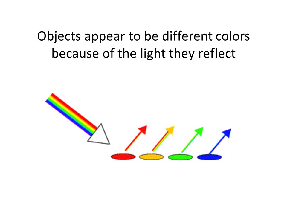 Objects appear to be different colors because of the light they reflect
