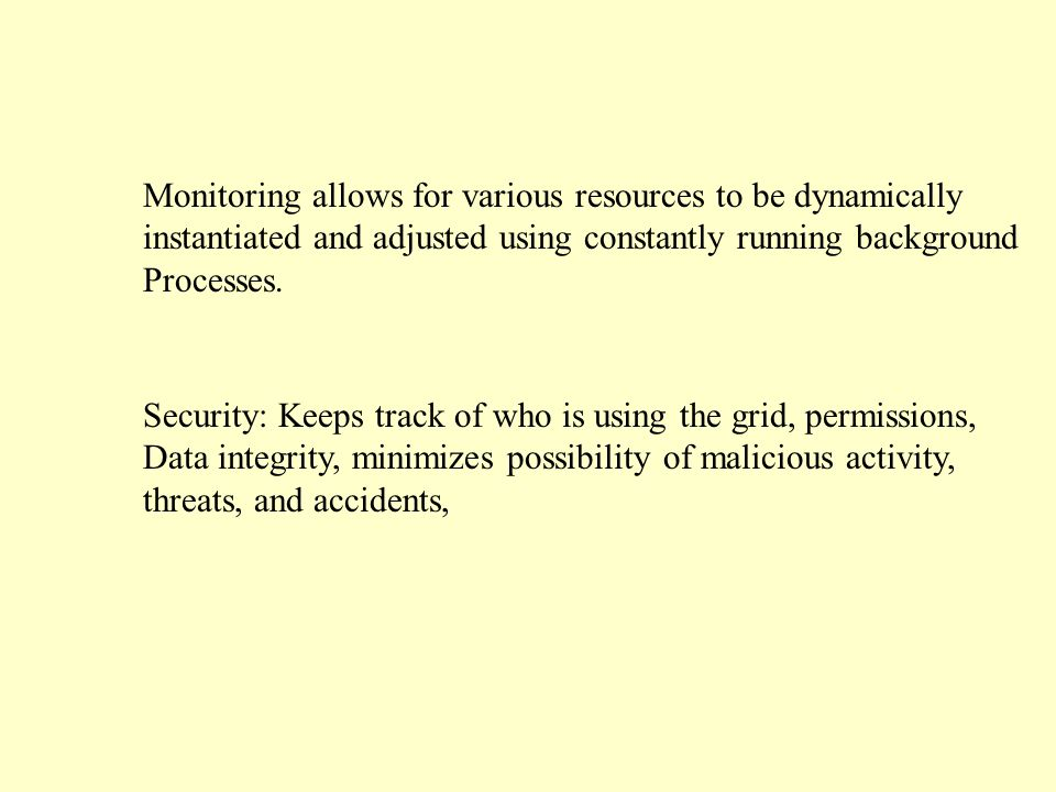 Monitoring allows for various resources to be dynamically instantiated and adjusted using constantly running background Processes.