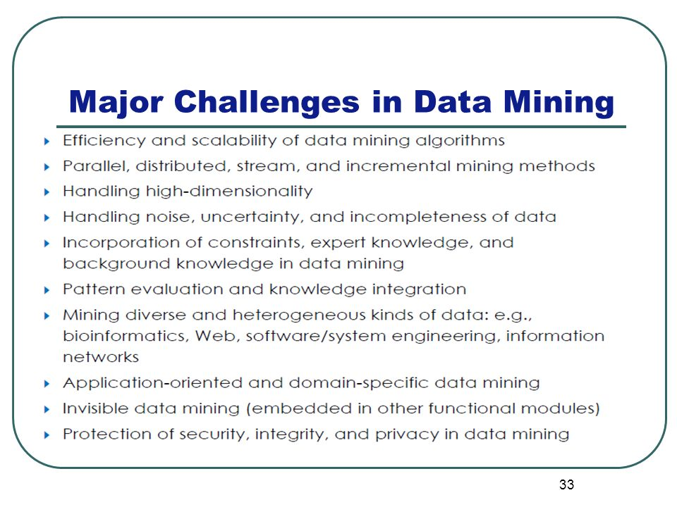 33 Major Challenges in Data Mining