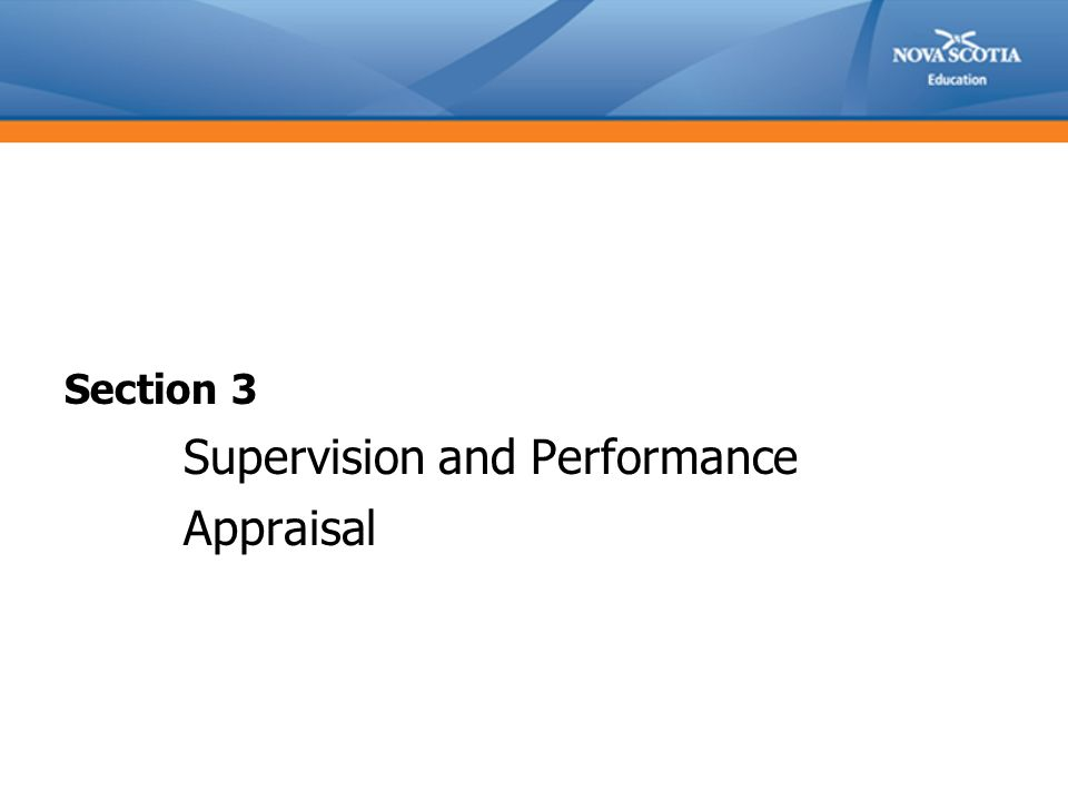Section 3 Supervision and Performance Appraisal