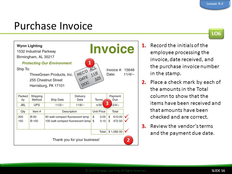 © 2014 Cengage Learning. All Rights Reserved. Purchase Invoice SLIDE