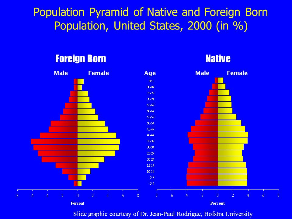 Population Pyramid of Native and Foreign Born Population, United States, 2000 (in %) MaleFemale Male Foreign BornNative Age Slide graphic courtesy of Dr.