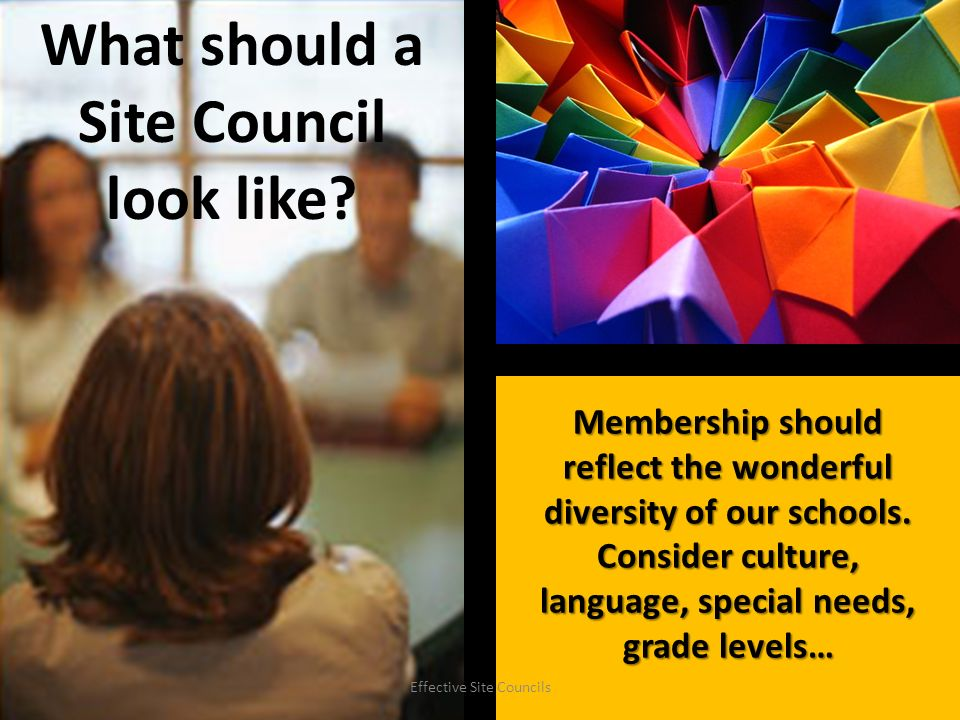 State and district policy require schools to have site councils.