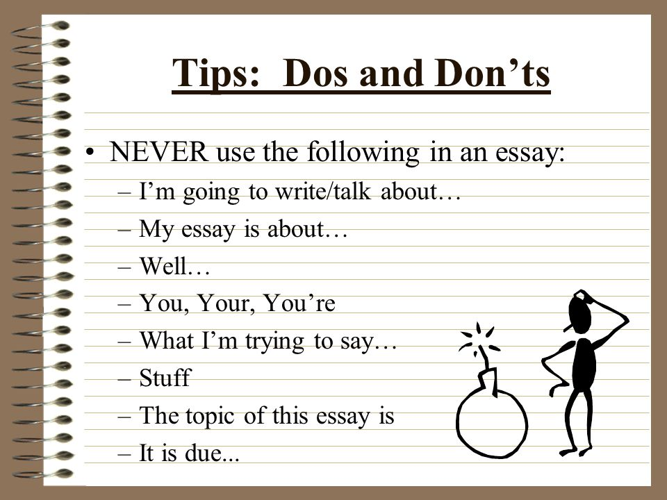 The Conclusion: Wrapping It Up When concluding your essay, you should restate the points that you have made.