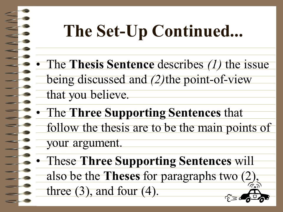 The Set-Up: First Paragraph IntroductionFirst Paragraph: Introduction: The purpose of this first paragraph is to set up, or tell your audience what it is that you will be explaining, describing, or arguing for or against.