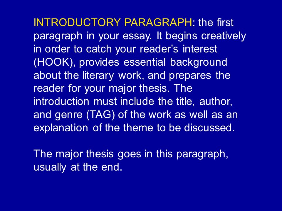 INTRODUCTORY PARAGRAPH: the first paragraph in your essay.