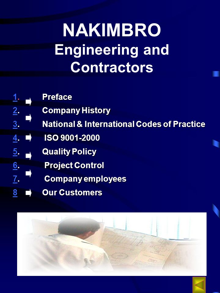 NAKIMBRO Engineering and Contractors Preface 1.Preface 1 22.Company History 2 33.National & International Codes of Practice 3 44.