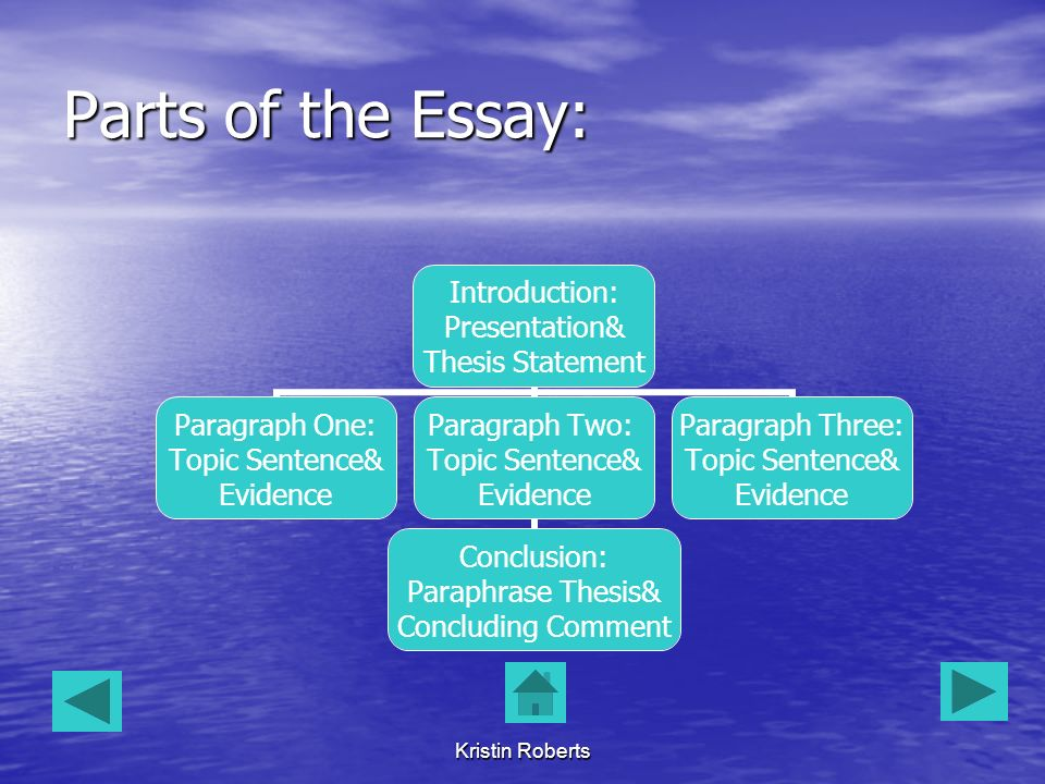 Argumentative Essay Examples High School  Kristin Roberts Parts Of The Essay Introduction Presentation Thesis  Statement Paragraph One Topic Sentence Evidence Paragraph Two Topic  Sentence  Gender Equality Essay Paper also Model English Essays Kristin Roberts Computer Assisted Language Learning Saint Michaels  Science Essays