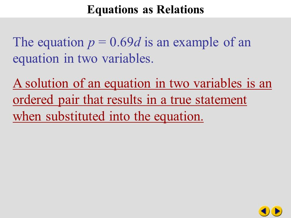 Equations As Relations The Equation P 069d Is An Example Of An