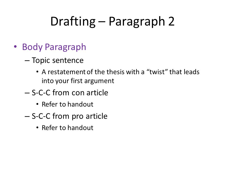 Drafting – Paragraph 2 Body Paragraph – Topic sentence A restatement of the thesis with a twist that leads into your first argument – S-C-C from con article Refer to handout – S-C-C from pro article Refer to handout