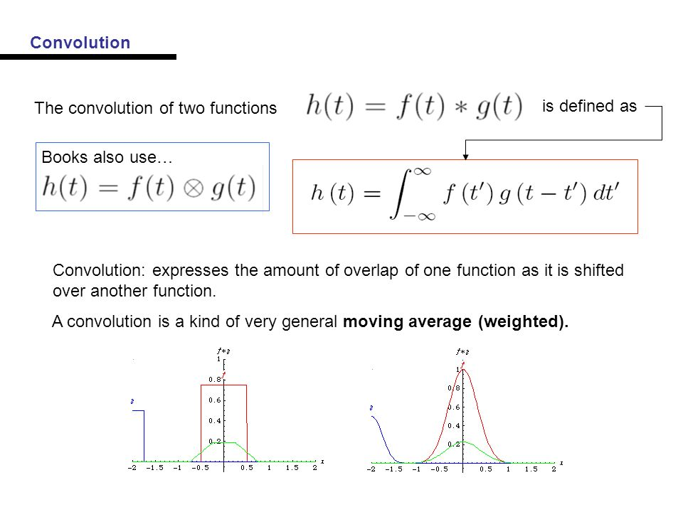 Convolution The convolution of two functions is defined as Books also use… Convolution: expresses the amount of overlap of one function as it is shifted over another function.