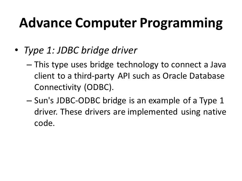 Advance Computer Programming Java Database Connectivity