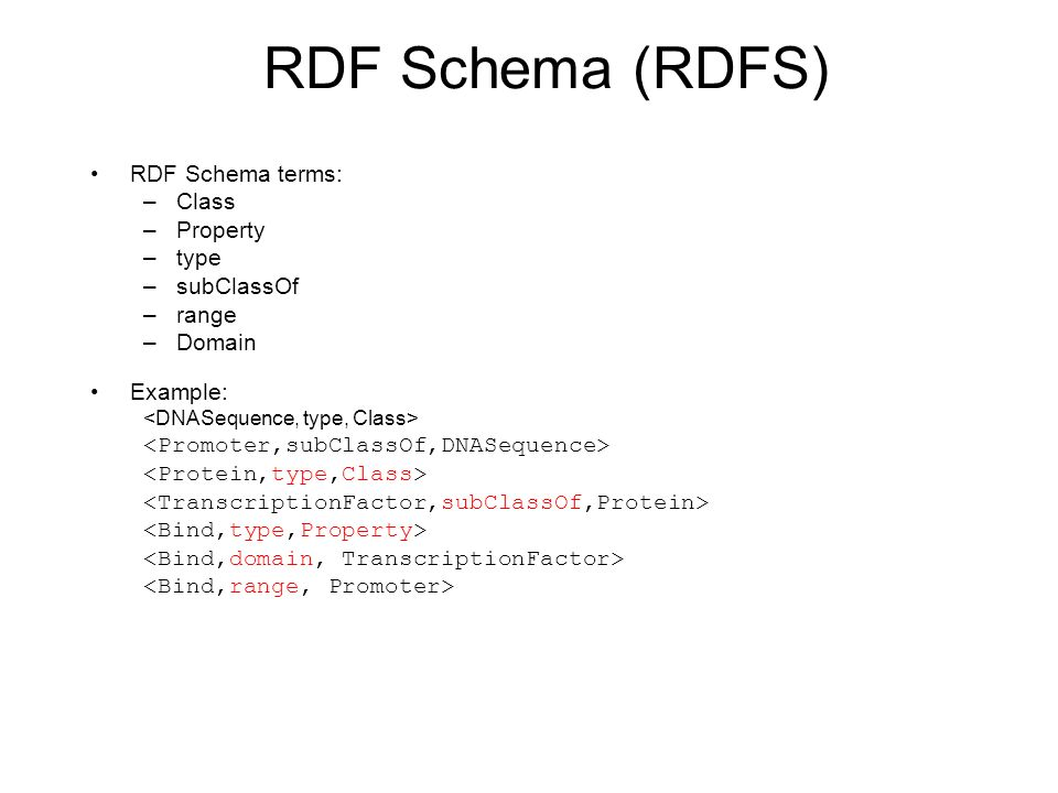 RDF Schema (RDFS) RDF Schema terms: –Class –Property –type –subClassOf –range –Domain Example: