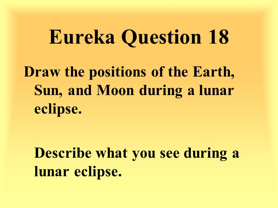 Eureka Question 18 Draw the positions of the Earth, Sun, and Moon during a lunar eclipse.