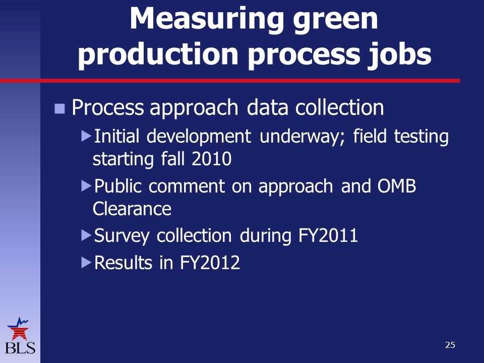 Measuring green production process jobs Process approachdata collection  Initial development underway; field testing starting fall 2010  Public comment on approach and OMB Clearance  Survey collection during FY2011  Results in FY