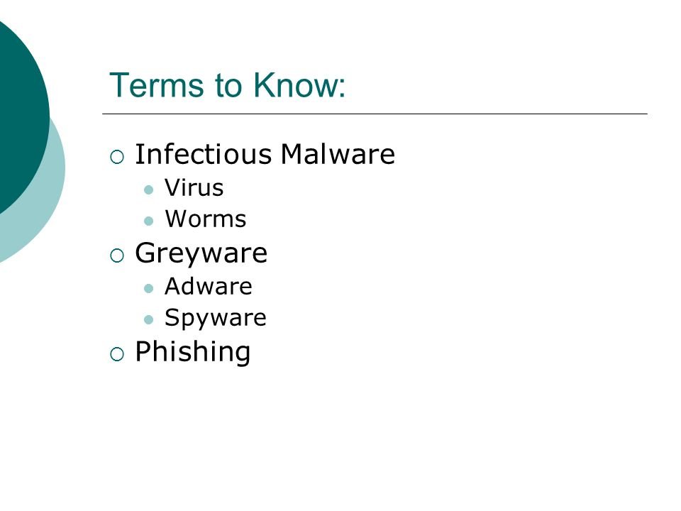 Terms to Know:  Infectious Malware Virus Worms  Greyware Adware Spyware  Phishing