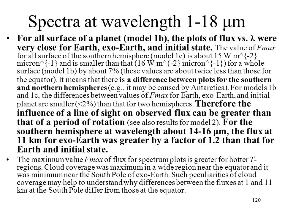 Spectra at wavelength 1-18 μm For all surface of a planet (model 1b), the plots of flux vs.