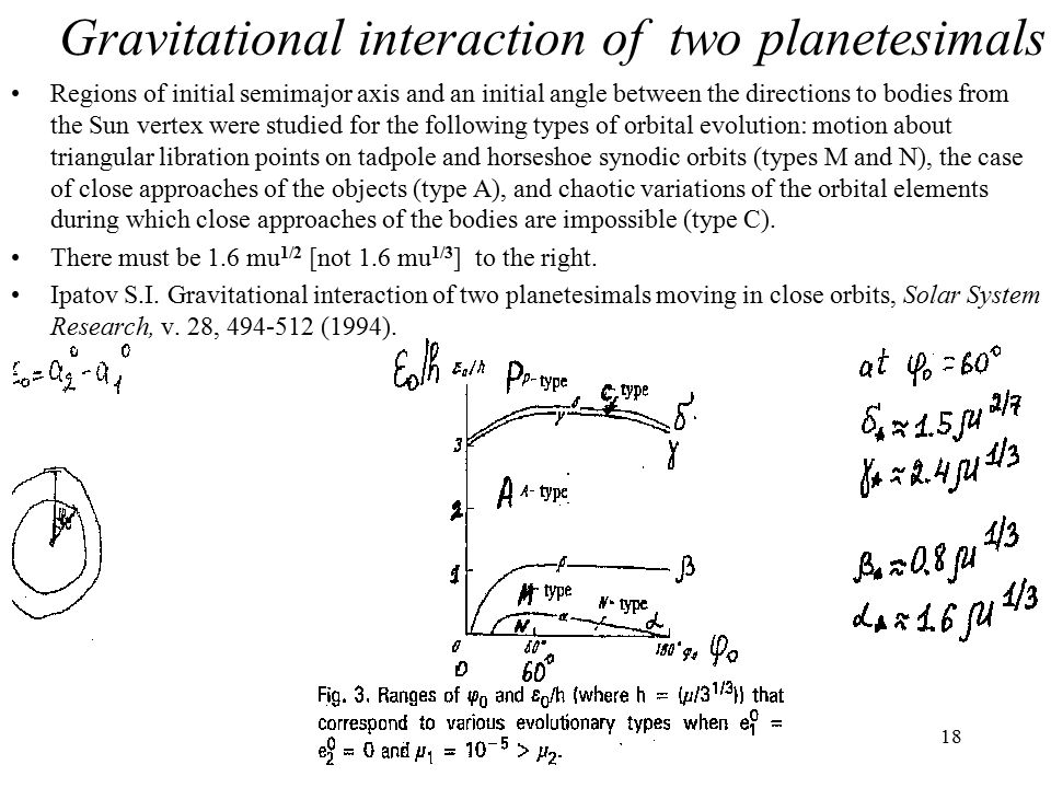 18 Gravitational interaction of two planetesimals Regions of initial semimajor axis and an initial angle between the directions to bodies from the Sun vertex were studied for the following types of orbital evolution: motion about triangular libration points on tadpole and horseshoe synodic orbits (types M and N), the case of close approaches of the objects (type A), and chaotic variations of the orbital elements during which close approaches of the bodies are impossible (type C).
