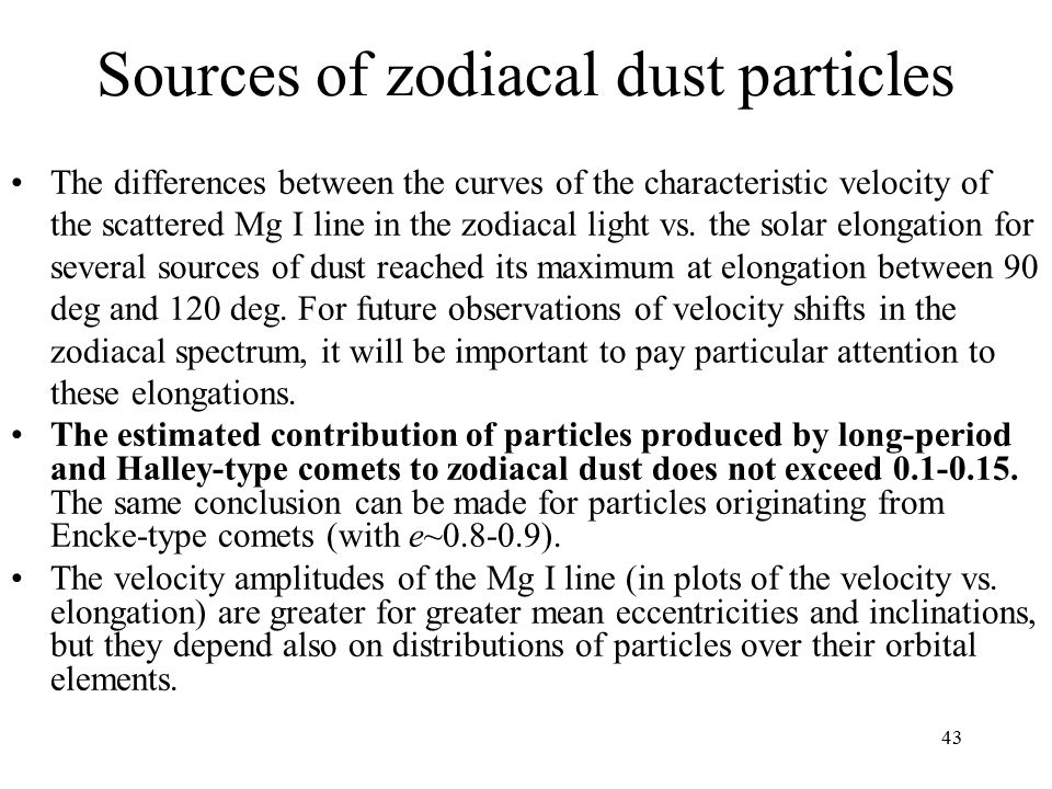 Sources of zodiacal dust particles The differences between the curves of the characteristic velocity of the scattered Mg I line in the zodiacal light vs.
