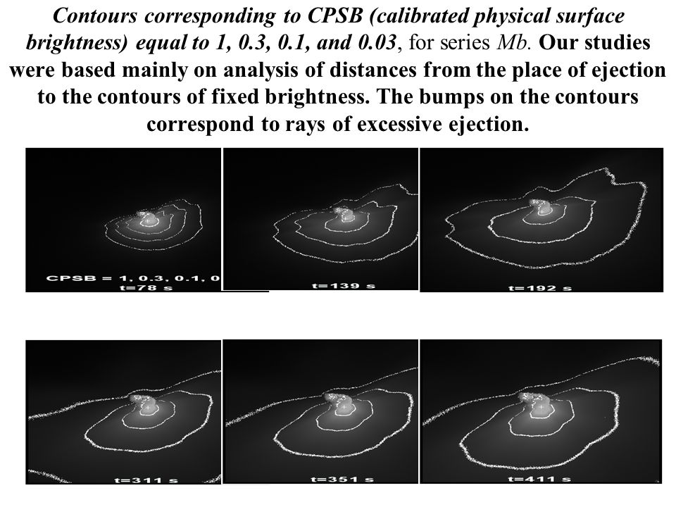 Contours corresponding to CPSB (calibrated physical surface brightness) equal to 1, 0.3, 0.1, and 0.03, for series Mb.