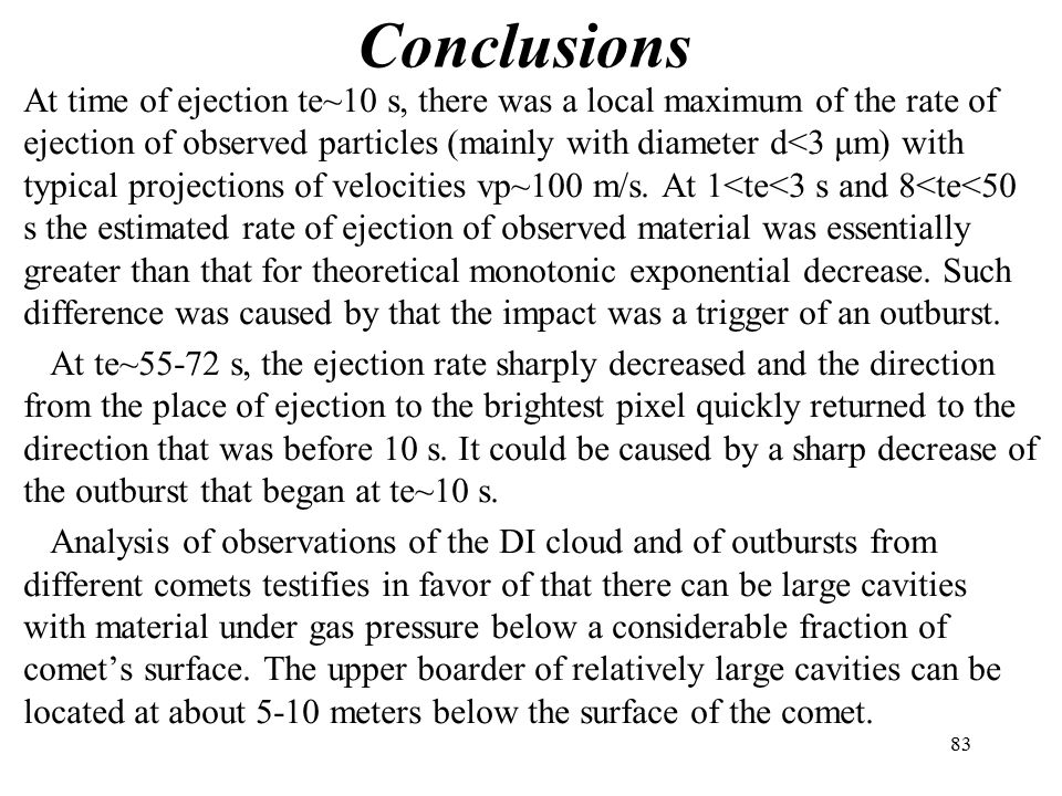 Conclusions At time of ejection te~10 s, there was a local maximum of the rate of ejection of observed particles (mainly with diameter d<3 μm) with typical projections of velocities vp~100 m/s.