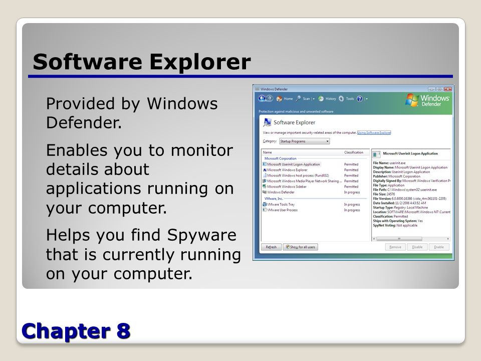 Chapter 8 Software Explorer Provided by Windows Defender.