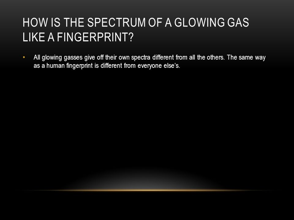HOW IS THE SPECTRUM OF A GLOWING GAS LIKE A FINGERPRINT.