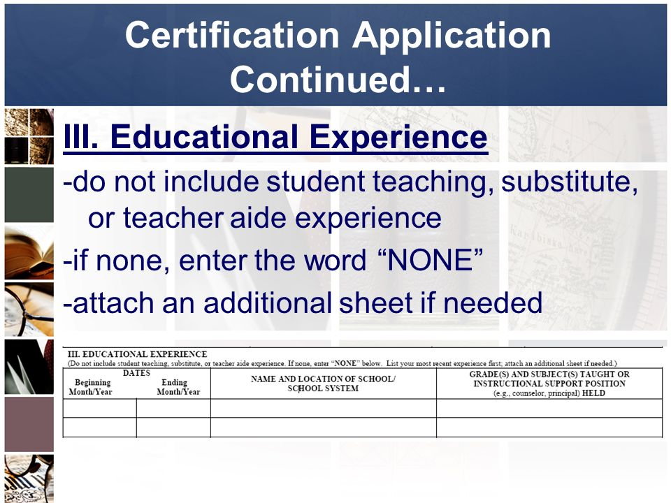 Certification Fall Certification Application Packet Certification