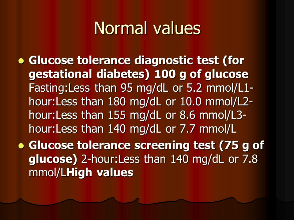 Normal values Glucose tolerance diagnostic test (for gestational diabetes) 100 g of glucose Fasting:Less than 95 mg/dL or 5.2 mmol/L1- hour:Less than 180 mg/dL or 10.0 mmol/L2- hour:Less than 155 mg/dL or 8.6 mmol/L3- hour:Less than 140 mg/dL or 7.7 mmol/L Glucose tolerance diagnostic test (for gestational diabetes) 100 g of glucose Fasting:Less than 95 mg/dL or 5.2 mmol/L1- hour:Less than 180 mg/dL or 10.0 mmol/L2- hour:Less than 155 mg/dL or 8.6 mmol/L3- hour:Less than 140 mg/dL or 7.7 mmol/L Glucose tolerance screening test (75 g of glucose) 2-hour:Less than 140 mg/dL or 7.8 mmol/LHigh values Glucose tolerance screening test (75 g of glucose) 2-hour:Less than 140 mg/dL or 7.8 mmol/LHigh values
