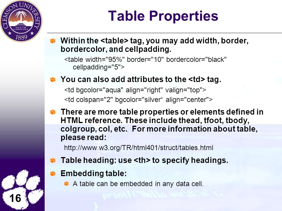 16 Table Properties Within the tag, you may add width, border, bordercolor, and cellpadding.