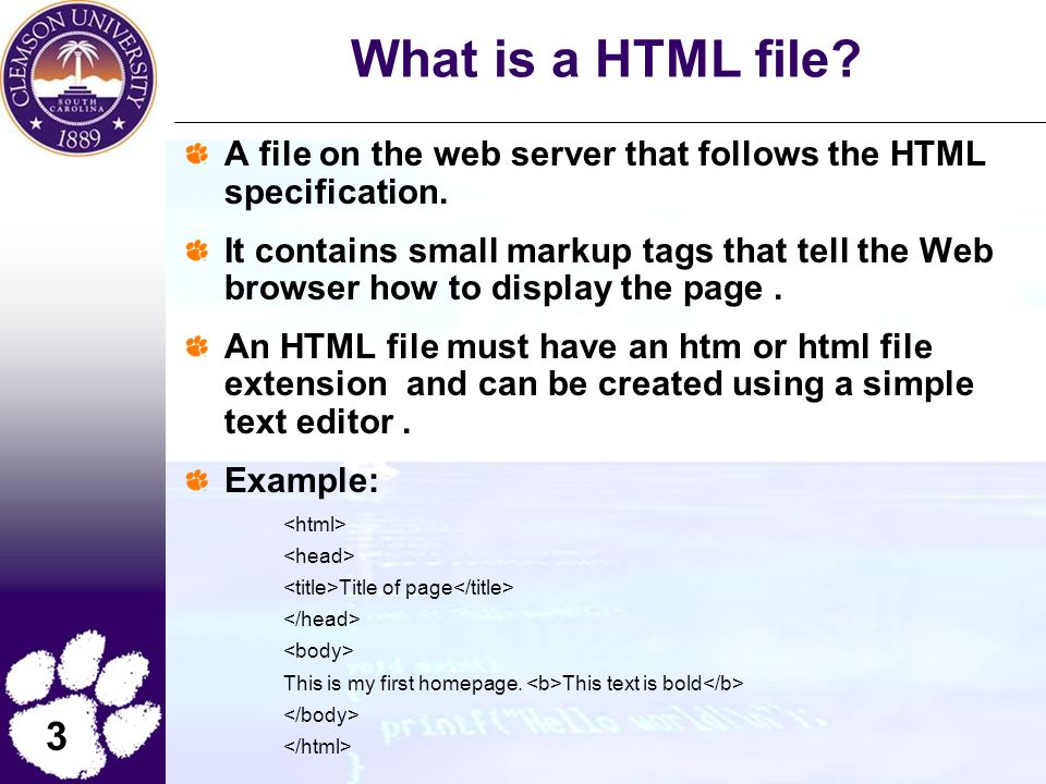 3 What is a HTML file. A file on the web server that follows the HTML specification.