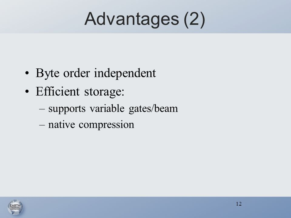 12 Advantages (2) Byte order independent Efficient storage: –supports variable gates/beam –native compression 12