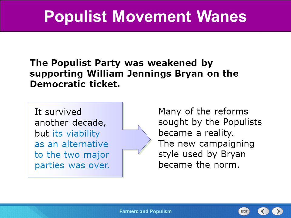 Chapter 25 Section 1 The Cold War BeginsFarmers and Populism Section 3 The Populist Party was weakened by supporting William Jennings Bryan on the Democratic ticket.
