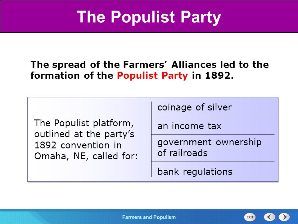 Chapter 25 Section 1 The Cold War BeginsFarmers and Populism Section 3 The spread of the Farmers' Alliances led to the formation of the Populist Party in 1892.