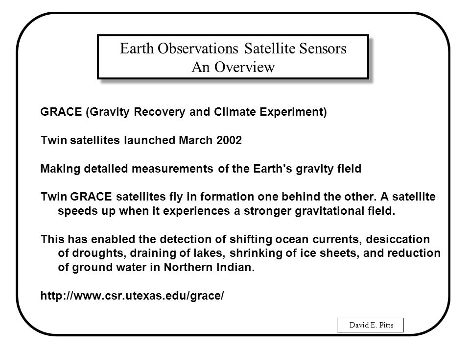 David E  Pitts Earth Observations Satellite Sensors An Overview