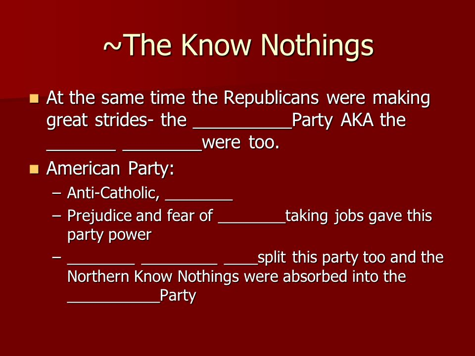 ~The Know Nothings At the same time the Republicans were making great strides- the __________Party AKA the _______ ________were too.