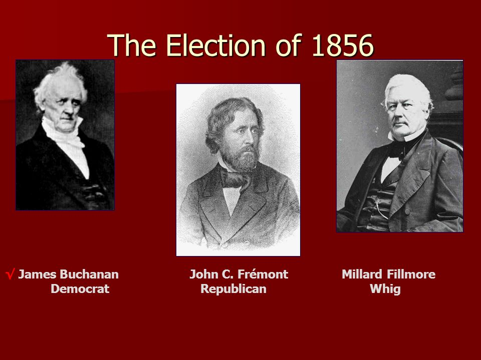 The Election of 1856 √ James Buchanan John C. Frémont Millard Fillmore Democrat Republican Whig