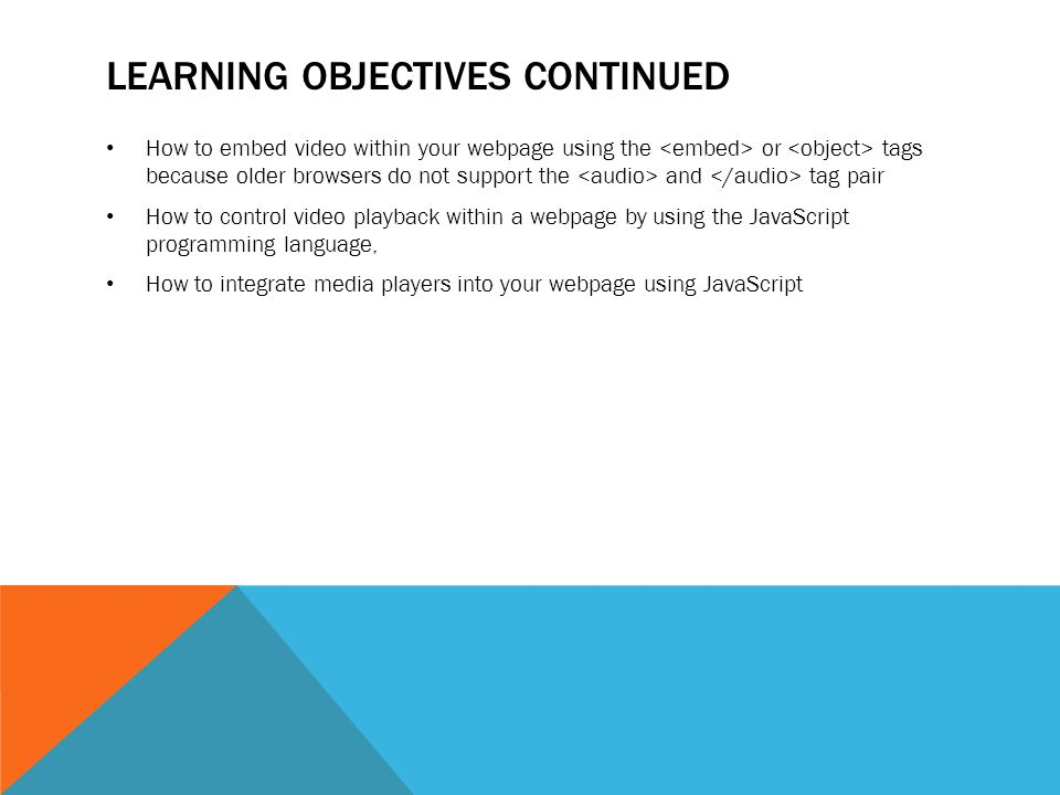 CHAPTER 18 INTEGRATING AUDIO AND VIDEO  LEARNING OBJECTIVES