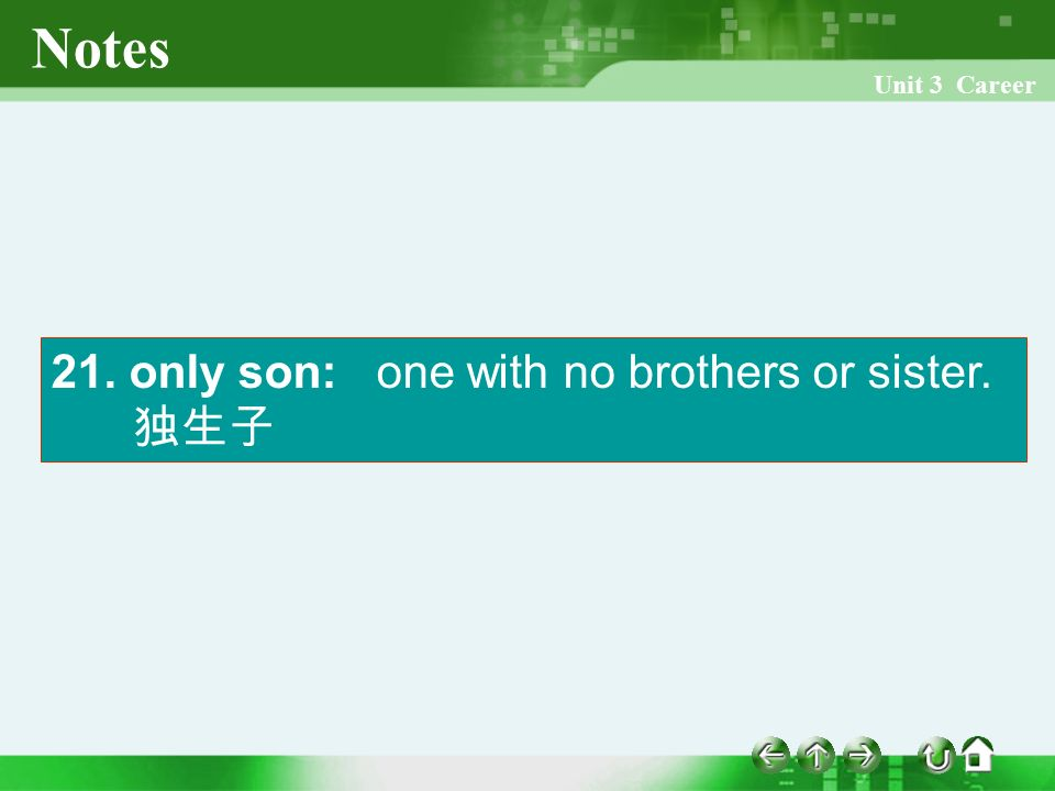 Unit 3 Career Notes 21. only son: one with no brothers or sister. 独生子